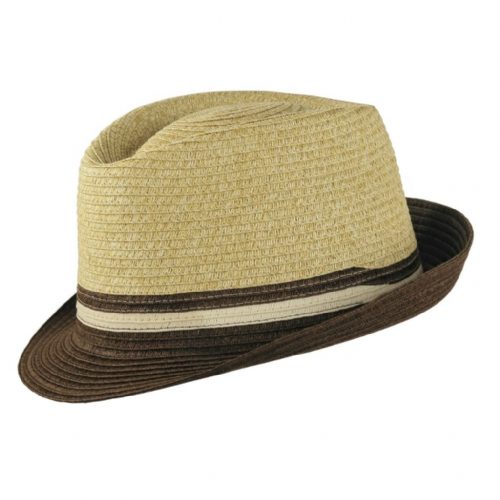 Wegener Straw Trilby Hat with Brown Brim